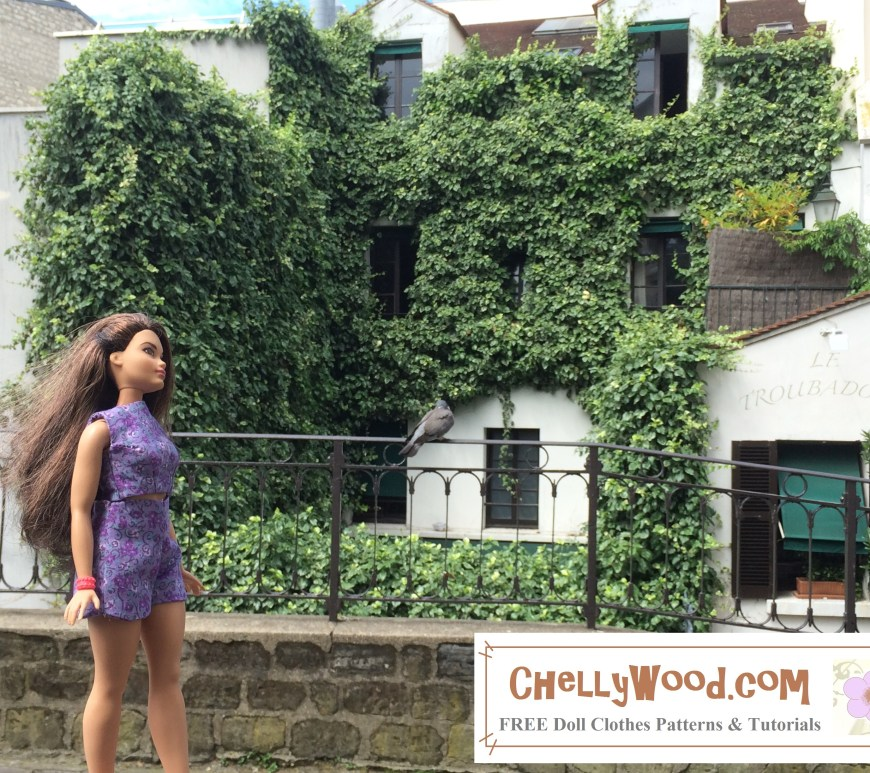 This image shows a Mattel Curvy Barbie with a Mediterranean complexion walking in front of an ivy-covered building in the Montmartre area of Paris, France. The doll wears a pretty purple crop top and high-waisted shorts made of cotton floral print in a pretty lavender-and-purple shade. To download the free, printable PDF sewing patterns for making this outfit, please go to ChellyWood.com and click on the 11 inch doll clothes patterns page from the home page gallery. There are further instructions for downloading these free printable doll clothes patterns to fit Curvy Barbie and similar sized dolls on the home page at ChellyWood.com