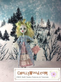Click here to find all the patterns and tutorials you'll need to make this outfit: https://chellywood.com/2017/01/27/small-dolls-pioneer-outfit-patterns-are-free-chellywood-com-dollstagram/