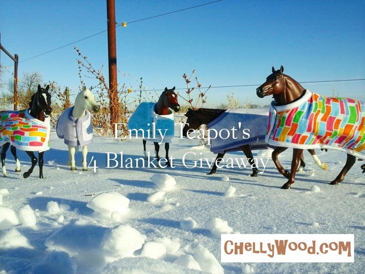 """Image shows four model horses (Breyer Traditional horses) wearing hand-made horse blankets in various fabric patterns. They are posed in a snow scene with a country background and blue sky. Overlay says, """"Emily Teapot's 4 Blanket Giveaway""""."""