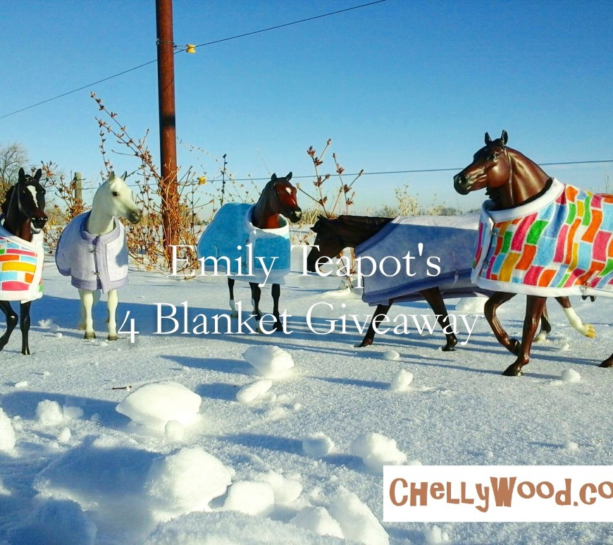 "Image shows four model horses (Breyer Traditional horses) wearing hand-made horse blankets in various fabric patterns. They are posed in a snow scene with a country background and blue sky. Overlay says, ""Emily Teapot's 4 Blanket Giveaway""."