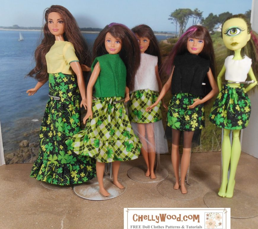 """Visit ChellyWood.com for FREE printable sewing patterns for dolls of many shapes and sizes. Image shows Curvy Barbie, Mattel's Skipper, and an Iris Clops Monster High doll in a seascape diorama. Each of the dolls is wearing handmade doll clothes in St. Patrick's Day patterns of green, black, and white. The adorable skirts are printed with tiny shamrocks and some skirts are layered with tulle. Overlay says, """"ChellyWood.com: Free printable sewing patterns for dolls of many shapes and sizes."""""""