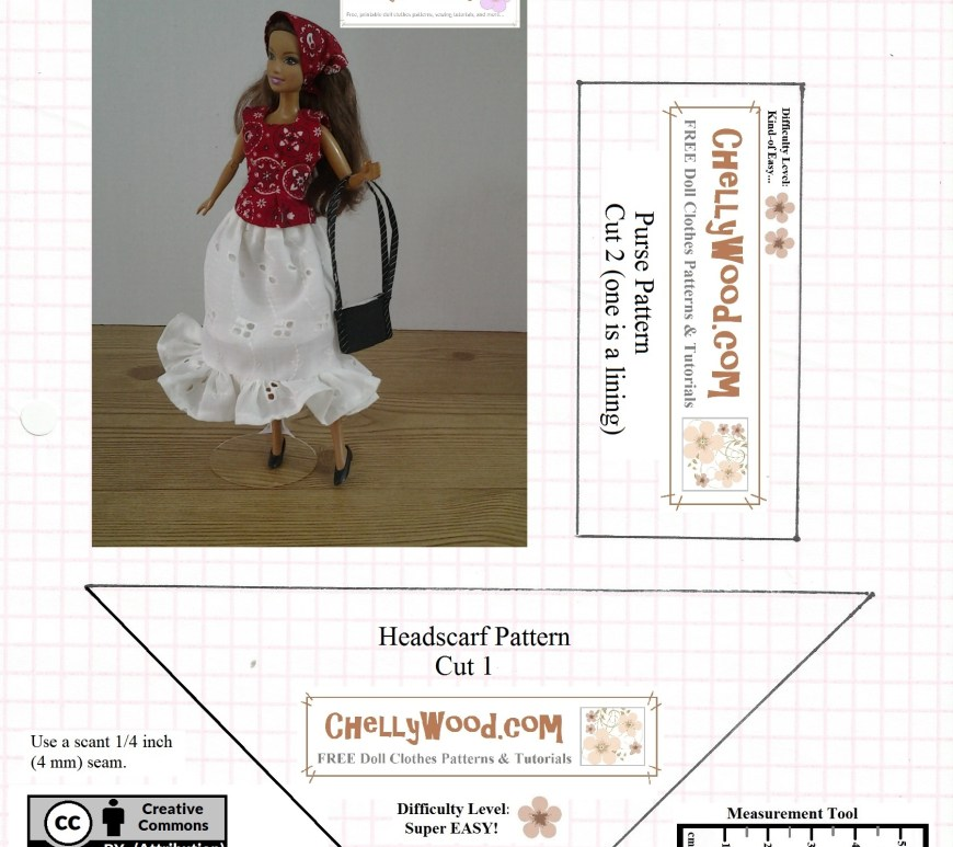 """Visit ChellyWood.com for free, printable sewing patterns for dolls of many shapes and sizes. Image shows a fashion doll like Barbie wearing a hankerchief-print headscarf, matching blouse, white skirt, and carrying a black purse. This is a pattern for a headscarf and purse only, and it uses the Creative Commons Attribution label. All items are watermarked """"chellywood.com"""""""