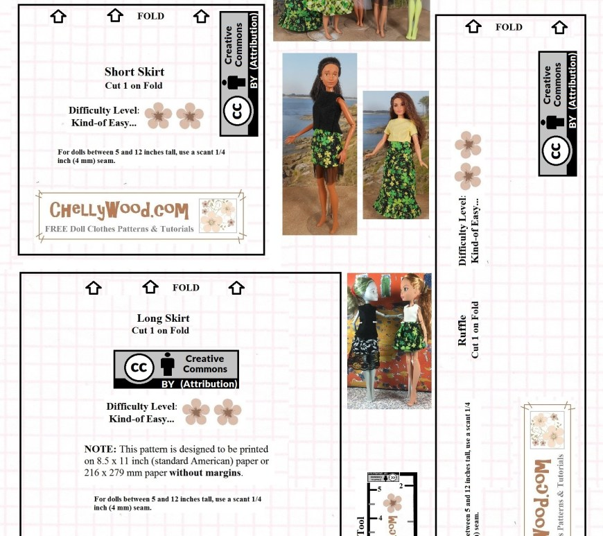 "Visit ChellyWood.com for free, printable sewing patterns for dolls of many shapes and sizes. Image shows a black-line pattern for making fashion doll skirts. It includes a creative commons attribution mark, and each pattern piece is marked with the watermark ""ChellyWood.com."" Fashion dolls like Mattel's Skipper and Barbie, and the Monster High and Ever After High dolls are seen wearing skirts made using this pattern."