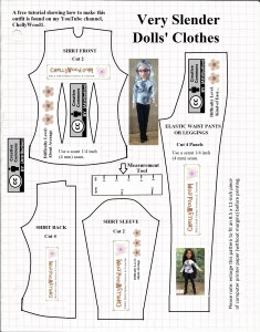"Visit ChellyWood.com for free, printable sewing patterns for dolls of many shapes and sizes. This image shows a pattern for a fashion doll's pants, jeans, or leggings, plus a long-sleeved doll shirt with front darts. The pattern includes a measurement tool and is marked with the Creative Commons Attribution symbol. The header over the top of this free, printable sewing pattern for doll clothes states, ""Very Slender Dolls' Clothes"". The dolls shown wearing the clothes made by using this free printable pattern are the Project MC2 doll and a Spin Master Liv Doll."
