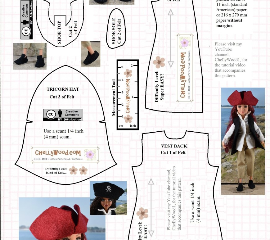 Visit ChellyWood.com for free, printable sewing patterns for dolls of many shapes and sizes. Image shows a free pattern for a pirate hat and vest made of felt, along with a free printable pattern for a doll's colonial-style shoes (also made of felt). Overlay offers the URL of the website where this pattern is found: ChellyWood.com. Creative Commons Attribution symbol is also on the pattern.