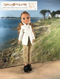 """Image shows an Ashlynn Ella doll from the Ever After High Dolls (EAH Doll) collection. She wears a handmade white blouse which is very elegant with a high collar, a pair of khaki trousers that are short like capris, and a pair of felt handmade shoes. Overlay says, """"ChellyWood.com: FREE Printable sewing patterns for dolls of many shapes and sizes."""