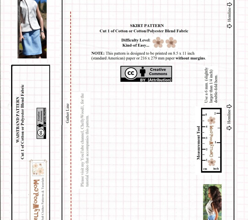 "Please visit ChellyWood.com for free, printable sewing patterns for dolls of many shapes and sizes. Image shows a printable paper pattern for a business-type skirt that fits 16-inch or 17-inch fashion dolls like the new 17"" Barbie, 16-inch Tonner dolls, and 17 inch FibreCraft dolls. It includes a waistband and suggests visiting the YouTube channel ChellyWood1 for a free tutorial video showing how to stitch this doll's skirt together. Overlay includes the URL ChellyWood.com and a ""Creative Commons Attribution"" watermark. It suggests by way of two pink flowers, that this is a fairly easy pattern to sew."