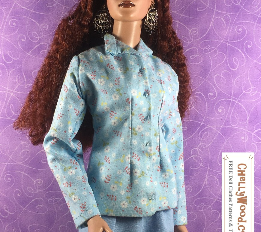 "Visit ChellyWood.com for free, printable sewing patterns and tutorials for dolls of many shapes and sizes. Image shows a Tonner doll wearing a hand-sewn business suit made of a solid blue fabric skirt and a floral blue-and-white blouse or business-style jacket with collar and front darts. Overlay says, ""ChellyWood.com: Free printable patterns for dolls of many shapes and sizes."""