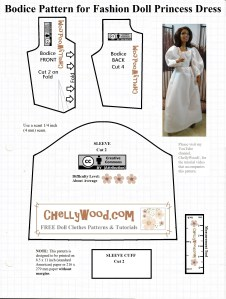 Visit ChellyWood.com for free, printable sewing patterns for dolls of many shapes and sizes. This image shows a lovely African-American doll wearing a white ball gown (reminiscent of wedding gowns, though not particularly adorned). The pattern itself offers a bodice front, bodice back, and sleeve with cuff. The skirt pattern is provided elsewhere. These are pieces to a whole doll gown which is designed to fit playscale sized (1:6 scale) fashion dolls like Mattel's Barbie, the Queens of Africa dolls, Liv dolls from Spin Master, and many similar-sized dolls. A measurement tool is provided with the printable doll dress pattern, to make it easy to tell whether or not the pattern has been printed at the correct scale.