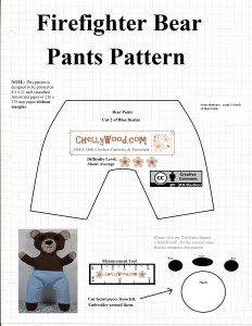 "Image shows the pants and facial pieces for the Smokey-like bear pattern that was posted the day before on this same website: ChellyWood.com. Both the bear pattern, and the accessories are free on this website (as are all of the other patterns that have been posted to date.) The image, however, does show the ""creative commons: attribution"" symbol."