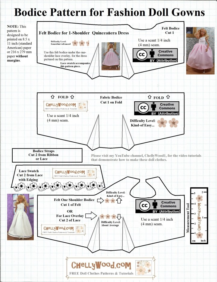 "Please visit ChellyWood.com for FREE printable sewing patterns for dolls of many shapes and sizes. Image shows a FREE Printable Sewing Pattern for Barbie Quinceañera Dress. The watermark on this fashion doll sewing dress pattern (ball gown pattern or wedding dress pattern or quinceañera pattern) says ""ChellyWood.com: free printable sewing patterns for dolls of many shapes and sizes."" The pattern itself contains three different bodices, and each is marked with a difficulty scale in numbers of pink flowers (more flowers = a more difficult pattern; fewer flowers = an easier pattern to sew). As part of the pattern, a Mattel Made-to-Move Barbie doll is shown modeling the dresses that have been made by using this sewing pattern."