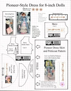 """Visit ChellyWood.com for FREE printable sewing patterns for dolls of many shapes and sizes. Image shows a pioneer-style Victorian gown worn by an 8"""" Breyer Rider doll and the same dress on a regular-sized Lagoona Blue doll from Monster High. This dress pattern is free and printable. It includes a bodice, sleeve, skirt, purse, and bonnet pattern. Each item of clothing has a tutorial video showing how to sew the dolls' clothes to fit Monster High dolls or Breyer Riders. The free printable sewing patterns are marked with the """"creative commons attribution"""" mark, meaning that anyone can print these patterns and use them, but they must tell where they got the patterns if they share them on social media. These doll clothes patterns for Monster high or Breyer dolls also have the watermark: ChellyWood.com: free printable sewing patterns for dolls of many shapes and sizes."""