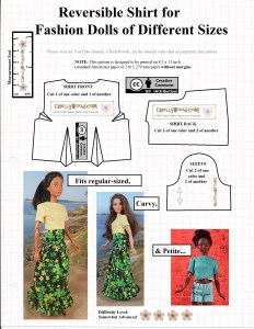 """Please visit ChellyWood.com for FREE printable sewing patterns for dolls of many shapes and sizes. This image shows a printable sewing pattern for making a reversible crop-top shirt with short sleeves. It shows regular Barbie dolls, Curvy Barbie dolls, and Petite Barbie dolls wearing a handmade shirt that was sewn using this pattern. The pattern is stamped with the """"creative commons attribution"""" mark, which means that people are welcome to use the pattern, but they must notify others where they got the pattern. The pattern's watermark is ChellyWood.com, which offers free printable doll clothes sewing patterns for dolls of many shapes and sizes."""