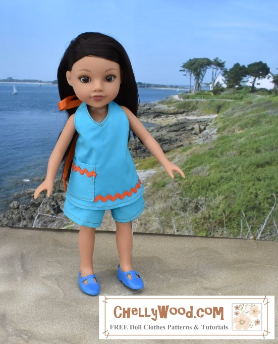 Please visit ChellyWood.com for FREE printable sewing patterns to fit dolls of many shapes and sizes. Image shows HforH (Hearts4Hearts) Hearts for Hearts doll clothes sewing patterns that can be sewn. These are free printable sewing patterns to make the outfit shown on Consuelo, the Hearts 4 Hearts doll pictured here, wearing a halter top shirt with shorts. These clothes were made using the FREE printable sewing pattern that can be found and downloaded at ChellyWood.com. Overlay offers the URL ChellyWood.com along with the phrase free printable doll clothes patterns and tutorials.