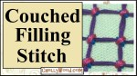 Please visit ChellyWood.com for FREE printable sewing patterns and craft tutorials. This image shows a multi-colored couched filling stitch and offers the overlay of the website ChellyWood.com where this embroidery tutorial video can be found. The tutorial teaches the step-by-step embroidery lesson for the couched filling stitch. This is a hand embroidery tutorial video lesson, which is posted on YouTube for free.