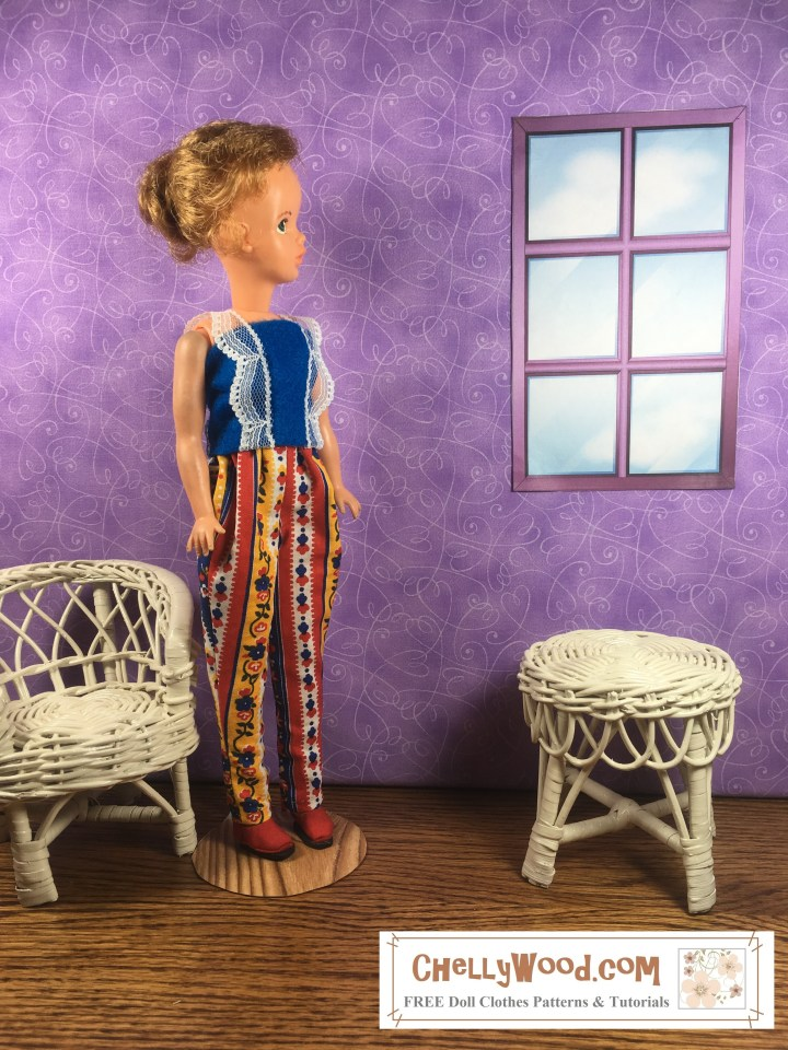 Visit ChellyWood.com for FREE printable sewing patterns for dolls of many shapes and sizes. The image shows a vintage Tammy doll (made by Ideal Corporation) wearing hand-made colorful pants and a hand-sewn felt summer shirt. The pants are colorfully decorated with flowers and stripes. The felt shirt has lace straps that embellish the front of the shirt as well. The Tammy Doll has her hair up in a pony tail. She stands in a diorama with a window set into a purple-colored wall. Beside her are a wicker chair and table. The floor is wooden beneath the Tammy Doll's feet. The image has the following watermark: ChellyWood.com: FREE printable sewing patterns and tutorials for dolls of many shapes and sizes.