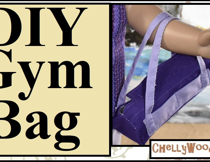 "The title of this YouTube video tutorial header is: ""American Girl Doll Craft Videos on Youtube Duffle Bag Duffel Bag Gym Bag Kit Travel Bag"" because this video will show you how to make a travel bag for 18-inch dolls (46 cm dolls) like American Girl dolls, Madame Alexander dolls, Liberty Jane, and similar dolls. The overlay watermark on this YouTube title page says ""ChellyWood.com"" which is the watermark for this tutorial video's creator. This video is a DIY tutorial video (found on youtube) which shows you how to make your own gym bag, gymnastics bag, duffle bag (also spelled duffel bag), kit, overnight bag or travel bag for dolls. It comes with a free printable sewing pattern. This duffle bag pattern is great for anyone making gymnastics doll clothes, and who also wants a place to put their gymnastics stuff for their American girl dolls. The patterns are free at ChellyWood.com."