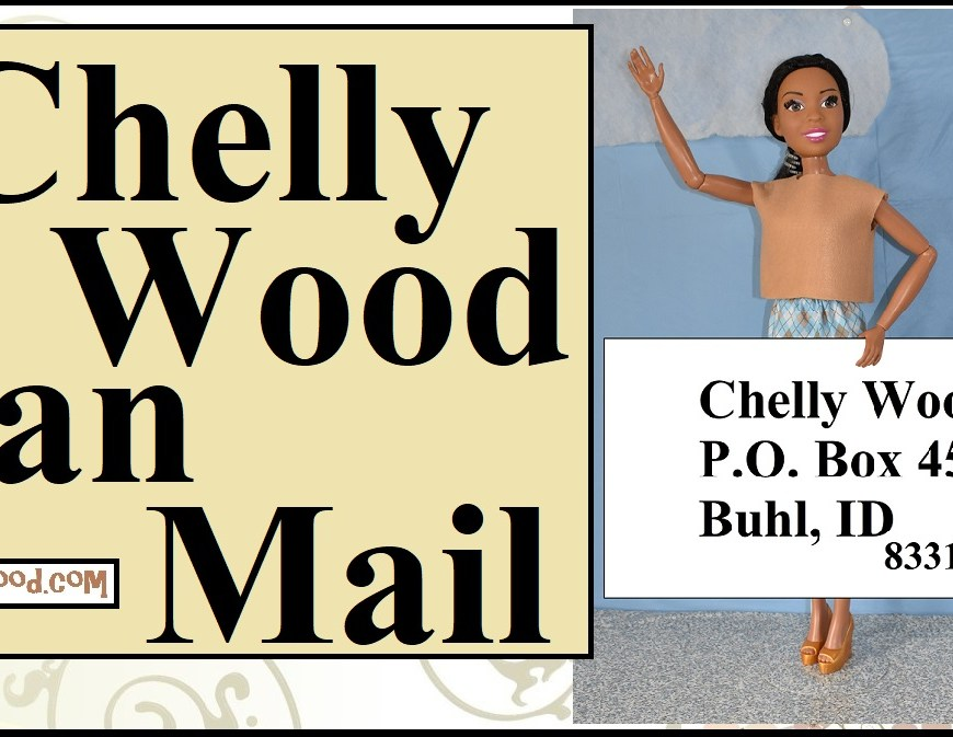 "The image shows Mattel's Best Fashion Friend Barbie doll (28-inch Barbies) holding up a sign that tells how a person could write to the doll clothes designer Chelly Wood. The overlay says, ""Chelly Wood Fan Mail"" and offers the URL ChellyWood.com."