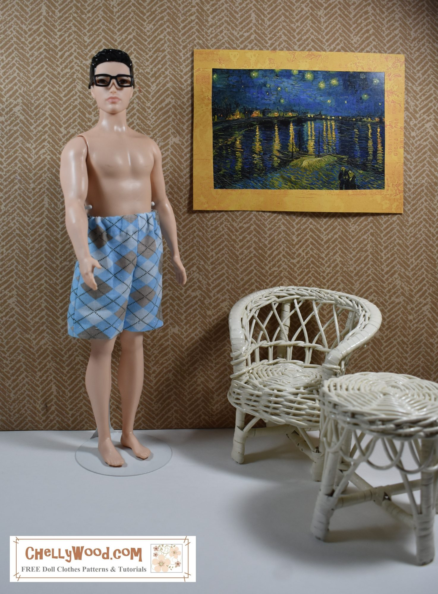 """Broad Ken stands in a one six scale diorama room with white wicker furniture. On the wall is a night-time painting by Van Gogh entitled, """"Starry Night Over the Rhône"""" which is a different painting than his famous """"The Starry Night"""" painting. Broad Ken appears to have just gotten out of bed. He's wearing boxers or maybe just a pair of summer shorts made of blue and tan argyle plaid cotton with an elastic waist. His chest and feet are bare, but he wears a pair of retro style reading glasses, like he is getting ready to have a cup of morning coffee and read the paper."""