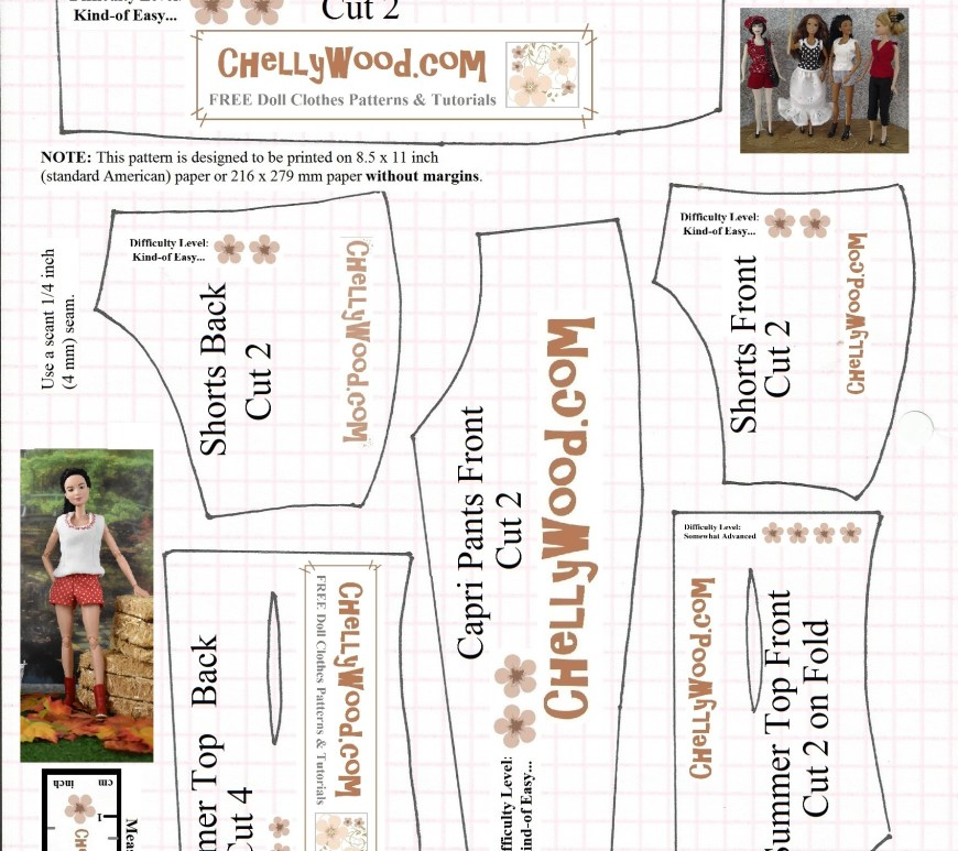 This is a free printable sewing pattern for 11.5 inch dolls like Mattel's Barbie dolls. The pattern includes shorts, capri pants, and a tank top shirt. Instructional tutorial videos accompany this free barbie doll clothes pattern, and these tutorials can be found at ChellyWood.com.