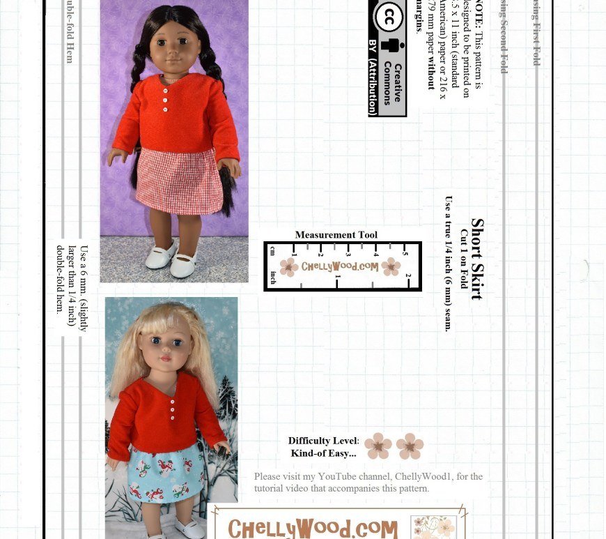 Basic 18 Inch Doll Skirt Pattern
