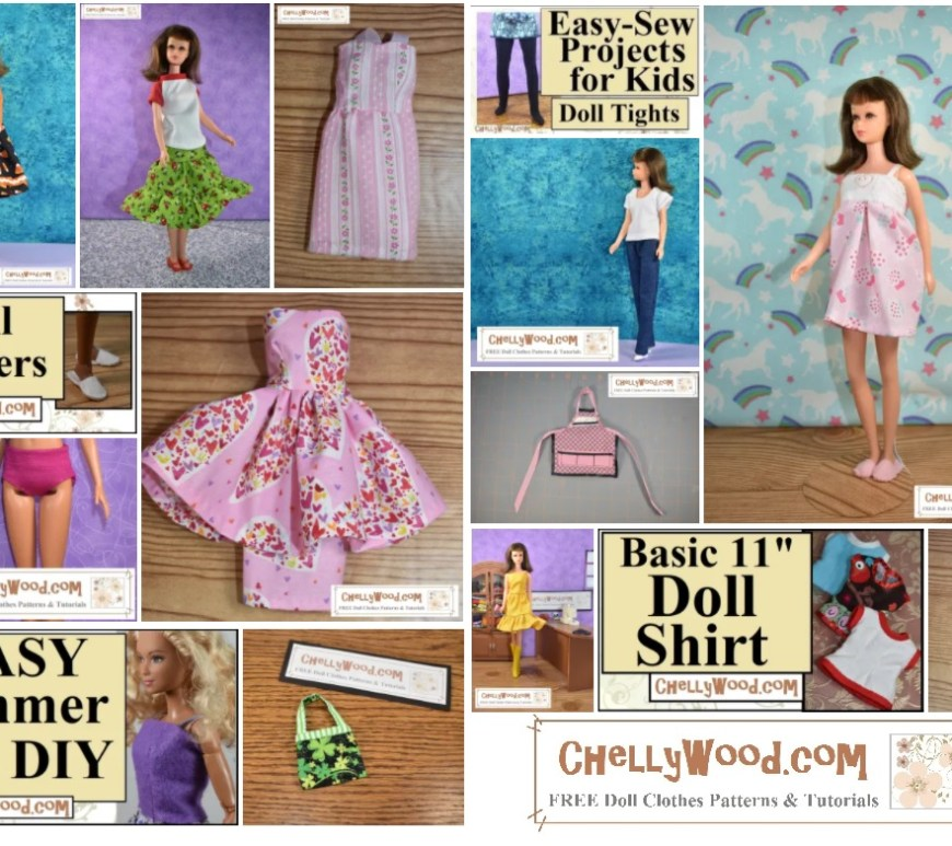 The image shows a screenshot of numerous doll clothes that have been sewn to fit a Mattel vintage Francie doll. Outfits include jeans with a T-shirt, several stand-alone dresses, a pajama, doll shirts, a purse, and a 3-tier skirt with a raglan-sleeved tee shirt.