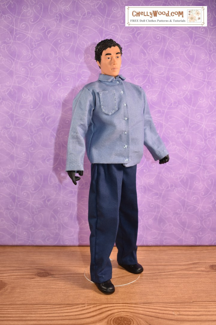 The image shows an action figure that is similar to GI Joe but a bit taller than GI Joe dolls. He models handmade doll clothes including a pair of elastic-waist pants that were made using a free printable sewing pattern found at ChellyWood.com