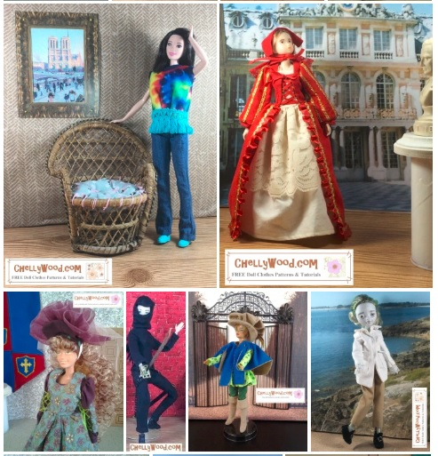 Please visit ChellyWood.com for FREE printable sewing patterns to fit dolls of many shapes and sizes. This image shows a half dozen different dolls wearing costumes from different periods in world history. For example, there's a Tall Barbie wearing a tie-dye shirt and bell-bottom jeans from the 1960's; there's a Momoko doll wearing a Renaissance gown with bonnet; there's a modern Barbie (Fashionista) wearing a medieval gown with a tiara; there's a Made to Move Barbie dressed as a ninja; there's a modern Barbie wearing a Musketeer costume; and there's a Monster High doll wearing Colonial clothing. The overlay reminds you that these free doll clothes patterns are all available to download and print at ChellyWood.com