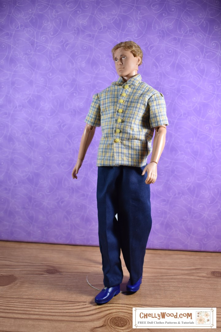 The image shows Texas A & M Ken modeling a short sleeve plaid shirt with yellow buttons down the front and a pair of dapper-looking 1950's style trousers. The pattern for these elastic-waist pants is free and printable at ChellyWood.com