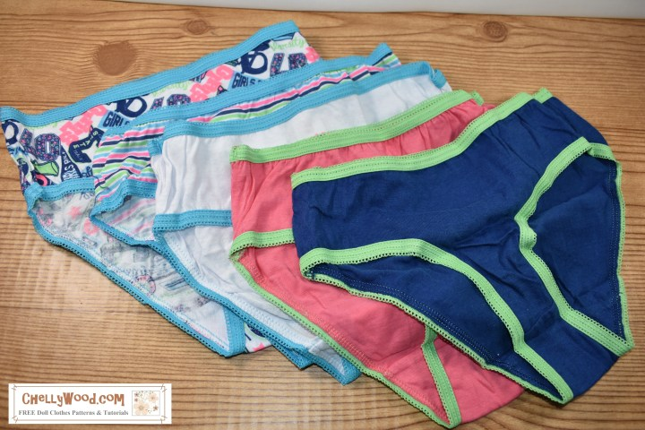 The image shows a series of underwear in matching colors, all lined up in a row. The article that accompanies this image discusses how you can find inexpensive underwear packs at your local Family Dollar store, and then cut these into doll clothes patterns. With these patterns, you can make dozens of matching shirts, shorts, underwear and more for your dolls.