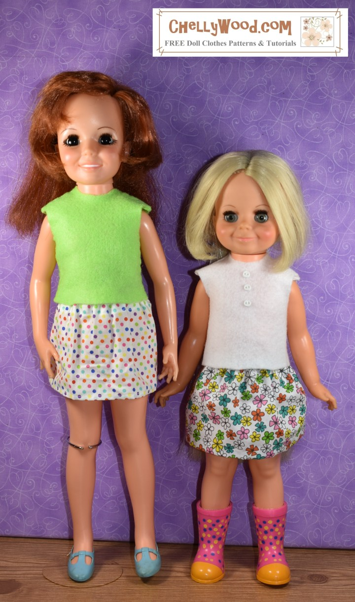 The image shows a vintage Velvet doll standing next to a Vintage Crissy doll. Both dolls were made by Ideal Toy Corporation, and both dolls wear handmade doll clothes that were designed by Chelly Wood. If you go to ChellyWood.com, you can download and print these free printable sewing patterns for making this felt summer shirt and schoolgirl skirt that were designed to fit Crissy and Velvet dolls.