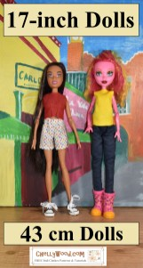 """Click here for all the free patterns and tutorials you'll need to make clothes for 17"""" fashion dolls: https://wp.me/P1LmCj-Gek"""