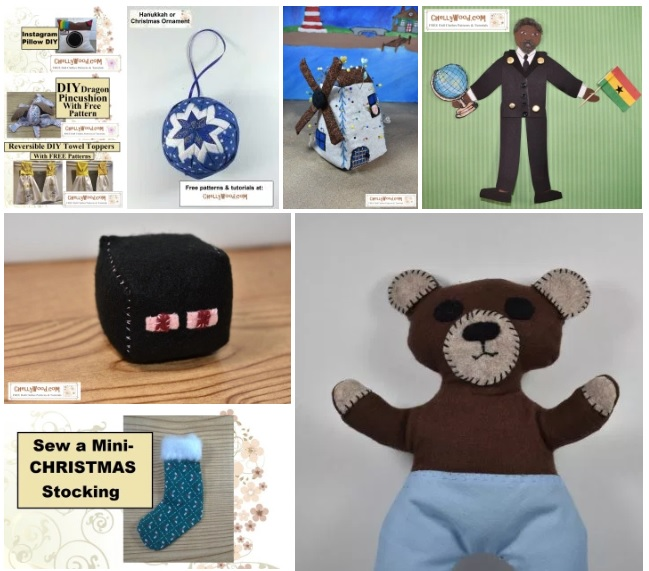 This image shows a variety of craft projects you can make at home by printing the free patterns and printables at ChellyWood.com and by following Chelly Wood's easy-to-follow tutorial videos. The images in this gallery screenshot include a hacky sack Minecraft cube, a paper puppet, a miniature Christmas stocking, a quilted Christmas tree ornament, a dragon pincushion, a plush bear toy, an Instagram-themed pillow, a windmill pincushion, and tea towels with personalized applique towel toppers.
