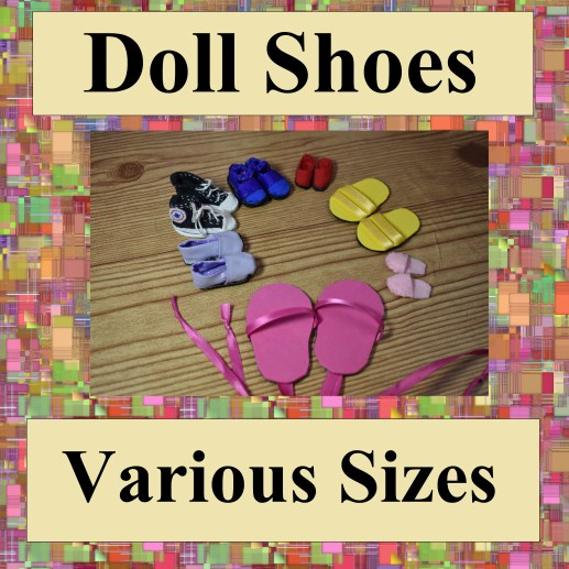 The image shows a number of different doll shoes in various sizes. If you click on the link within the caption below the image, it will take you to the directory page for making doll shoes using the free patterns and tutorial videos available on this website, ChellyWood.com