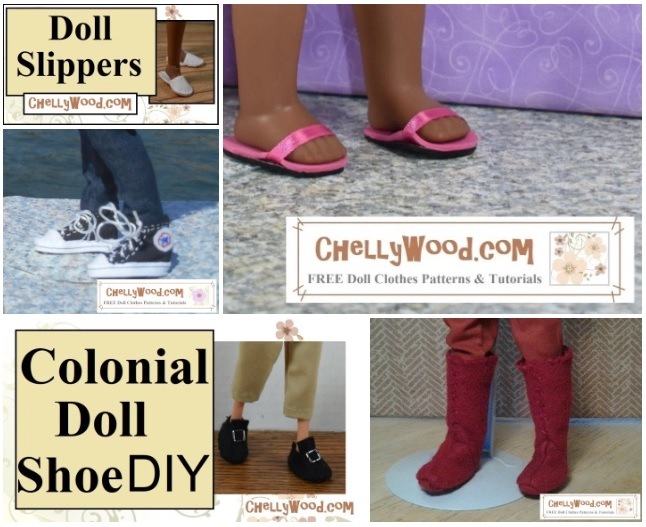 "This image is a screenshot of some of the shoes and boots in the gallery page. From the gallery page itself, you can click on the image's link, and it will take you to the page where you can find all the free printable sewing patterns and tutorial videos you'll need to make that particular shoe or boot project. The links within the gallery work like this: click on the picture of the shoe or boot you want to make; that will take you to the actual photo page. Beneath the photo it will say ""click here for free printable patterns and tutorials"" followed by a colon and the URL for that original blog post. Within the blog post, you'll find links to your patterns and tutorials for making that doll shoe or boot."