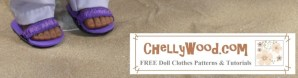 Click on the link below the image. It will take you to the page with free patterns and tutorials for doll sandals made of foam and elastic.