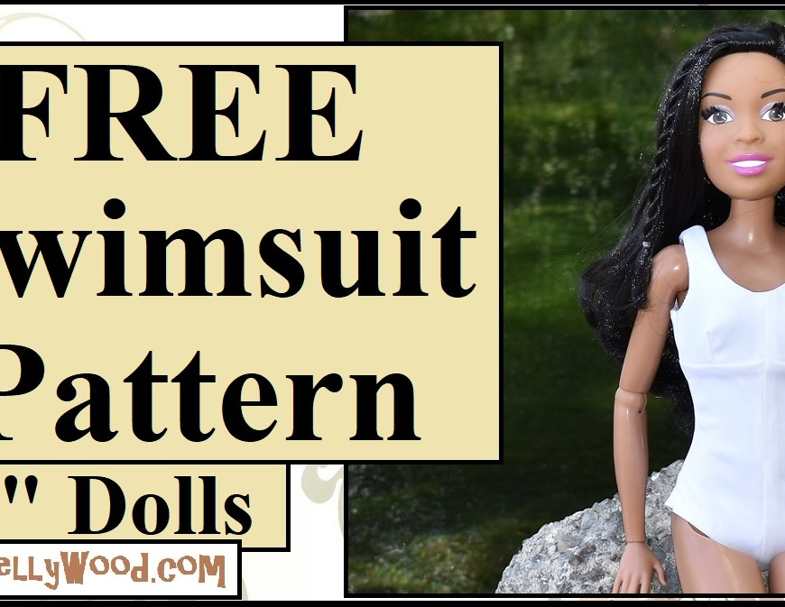 This image is the YouTube video tutorial header image. In the accompanying tutorial, Chelly Wood offers instructions (both written and verbal step-by-step guidelines) for sewing a swimsuit to fit 28 inch Barbies, using her free printable sewing patterns for 28 inch doll swimsuits / bathing suit, the pattern of which is found at ChellyWood.com