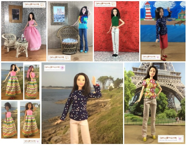 This image is a screenshot of the gallery page found at ChellyWood.com where you can download and print free patterns to fit Mattel's 12 inch Fashionista Tall Barbie dolls. The image offers a preview of what the gallery looks like, but it doesn't include all of the outfits that are clickable on the page. For each outfit, free patterns are provided.