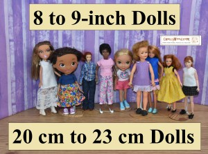 "The image shows a lineup of 8-inch and 9-inch dolls wearing hand-made doll clothes. Each of these patterns is now or will be soon available as a free printable downloadable pattern for 8-inch dolls and /or 9-inch dolls. The image shows the following dolls modeling the patterns: Bratz, Doc McStuffins, 1990's style Breyer Rider dolls, World of Love dolls (specifically ""Soul""), a Dora the Explorer doll, Pepper doll (little sister of Tammy doll from Ideal), Mattel's Stacie doll (sometimes spelled Stacey or Stacy dolls), a MEGO doll / action figure from the Wizard of Oz collection of the 1970's, and a modern Breyer 8-inch Rider Figure doll. These dolls are modeling, floor-length pants, ankle pants, shorts, skirts, T-shirts, sleeveless shirts, a long-sleeve shirt, and dresses of various styles. If you click on the link provided, it will take you to a directory of free patterns for 8-inch (20 cm) to 9-inch (23 cm) dolls."