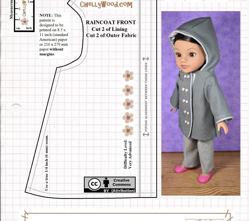 The image shows a 14-inch or 15-inch doll wearing a hooded raincoat on a printable image of the raincoat front pattern. All the patterns needed to make a doll's coat with hood are found at ChellyWood.com