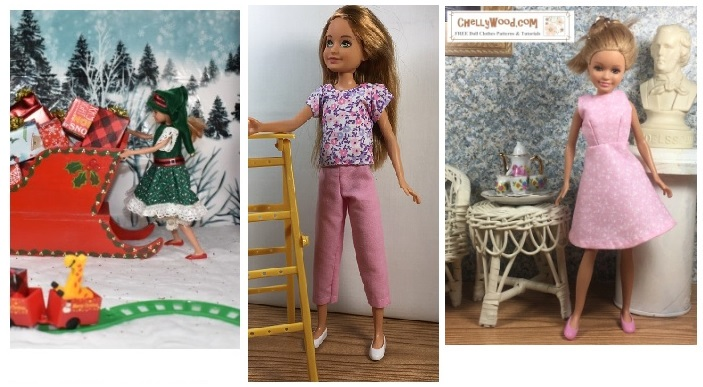 This image shows a Stacie doll modeling an A-line dress, a pair of capri pants, a short-sleeved shirt, and a Christmas dress with lace trim and an elf-like velvet hat. Each of these outfits has free patterns on ChellyWood.com which you can download and print.