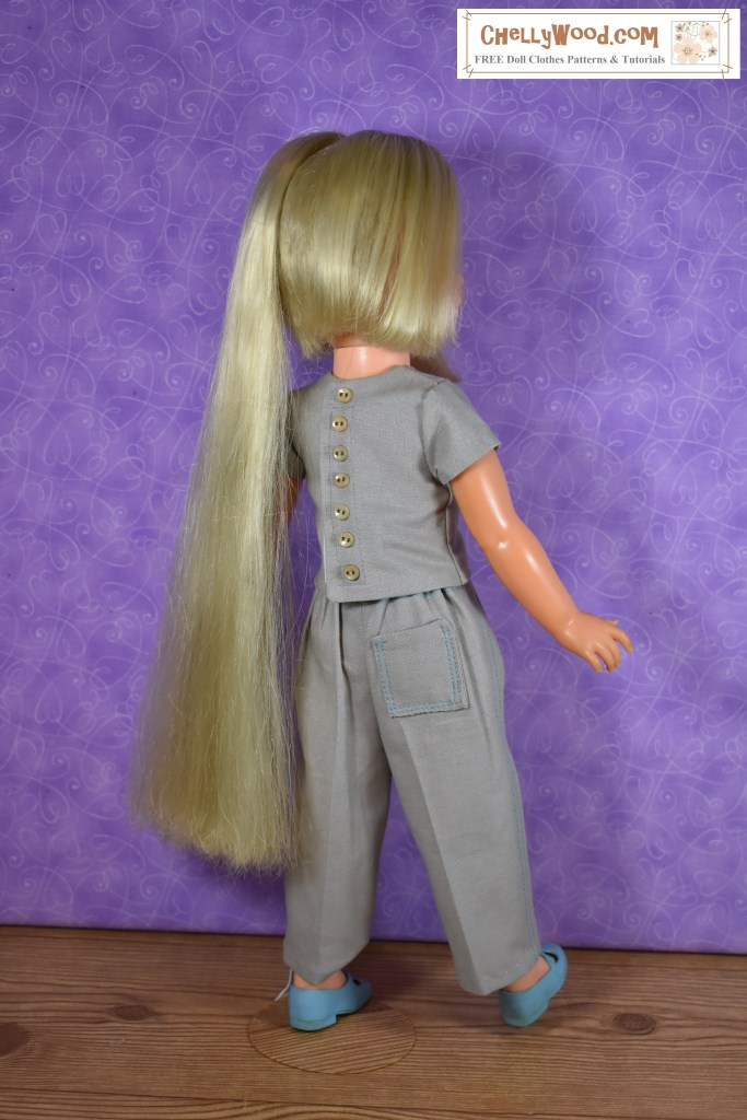 The image shows a vintage Velvet doll wearing a handmade shirt and pants. Visit ChellyWood.com to download the free printable sewing patterns for this outfit.