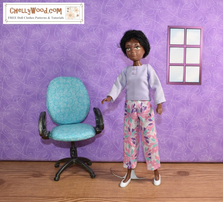 Soul, one of the 9-inch World of Love dolls from Hasbro, stands alone in a room with a single office chair and window. She wears capri pants made of a cotton fabric that's decorated with tiny leaves in pink, purple, and turquoise blue-green. She wears a matching lavender shirt with two tiny buttons at the top. The shirt has long sleeves and a conservative rounded neckline but no collar. She wears tiny white plastic flats. If you would like to make an outfit like this for your 9-inch (23 cm) dolls, you can find the free, printable PDF patterns at ChellyWood.com along with tutorial videos showing how to make both the shirt and the capri pants. The website is marked with the creative commons attribution mark, so by downloading these patterns, you agree to share them on social media and tell where they came from.