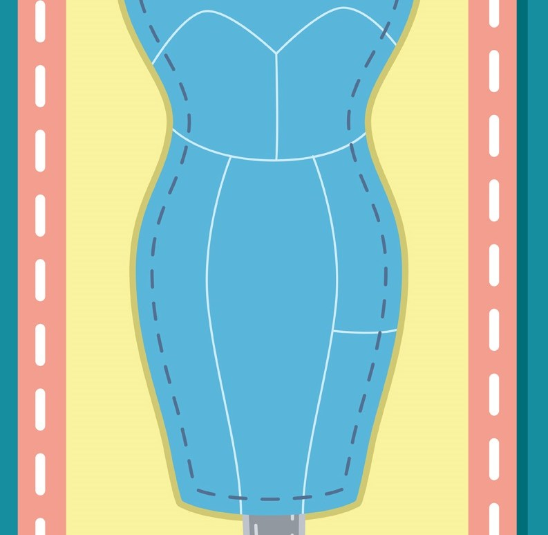 The image shows a dress form with a quilted look all around it. This image was purchased as part of a yearly subscription to iClipart and used with permission.