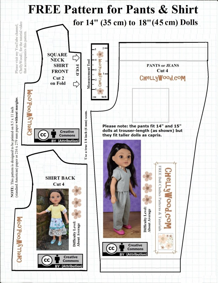 "This image is the graphic image of a pattern designed by Chelly Wood of ChellyWood.com. The pattern shows a Hearts for Hearts girl wearing the doll clothes made by using this pattern. The pattern is marked with a ""creative commons attribution"" symbol, and it includes instructions for seam allowances, printing, and more. It includes a measurement tool. On the same page that this image is shown, there's also a free printable PDF version of this pattern. The pattern can fit a number of dolls in the 13-inch, 14-inch, 15-inch, 16-inch, 17-inch and even 18-inch doll size range. (It will not fit 18-inch American girl dolls, but it will fit 18 inch Crissy dolls, 18"" BFC Ink dolls, and similar-sized dolls."