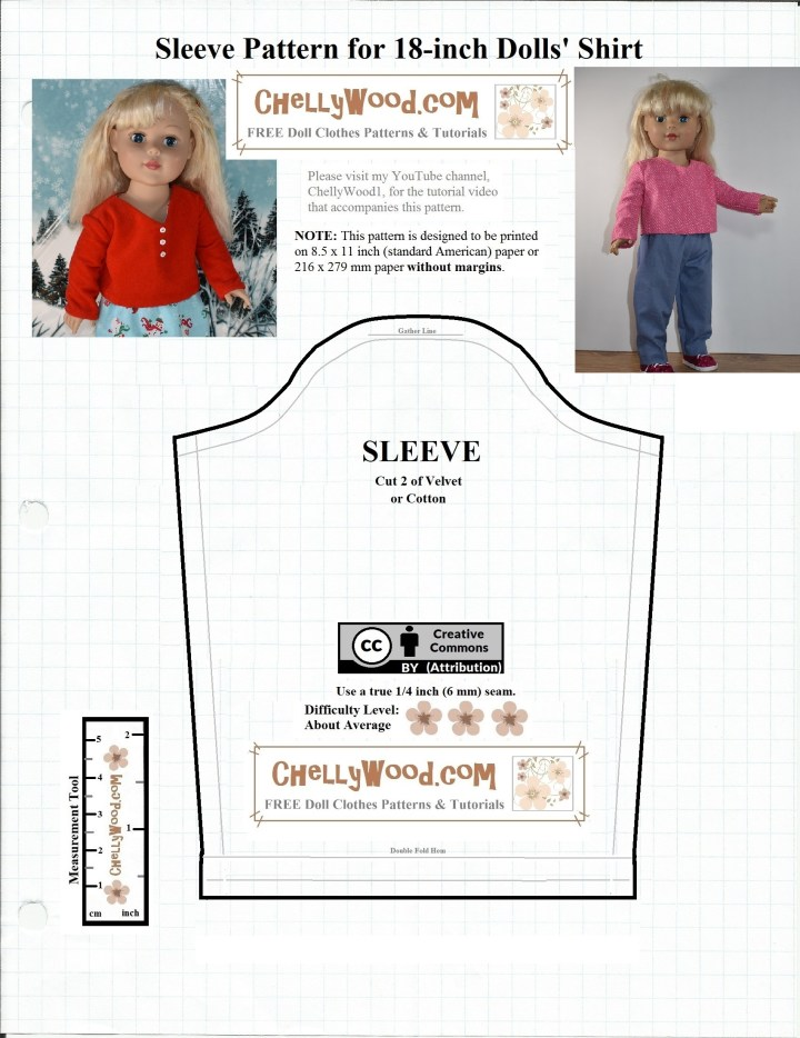 The image is a free doll clothes pattern for 18 inch dolls. If you're sewing the outfit as provided on ChellyWood.com, this is the long sleeve portion of the free patterns for making a shirt to fit 18 inch dolls. ChellyWood.com offers hundreds of free printable sewing patterns for sewing doll clothes to fit dolls of many shapes and all different sizes.
