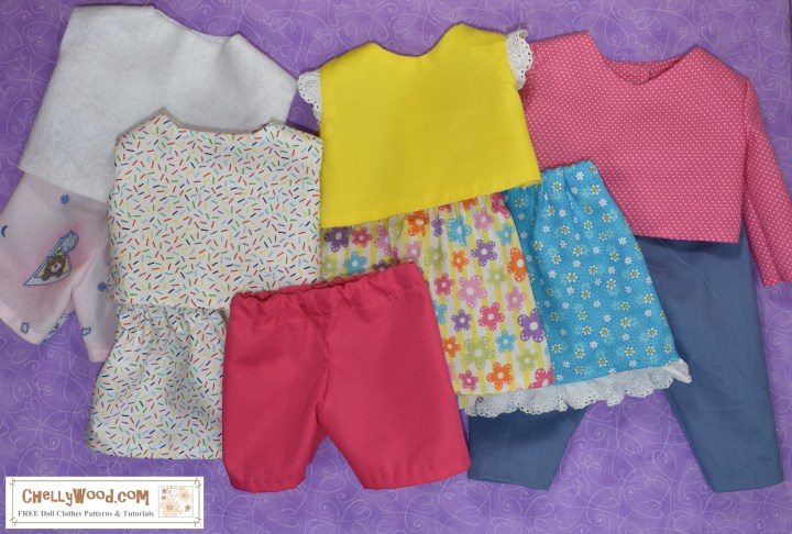 The image shows a wardrobe of 10 doll clothing items designed to fit 18 inch dolls. There are several shirts, three skirts, a pair of shorts, a pair of pants, and a pair of pajamas. The watermark tells you where you can download the free printable PDF sewing patterns for making this 18 inch doll wardrobe: ChellyWood.com