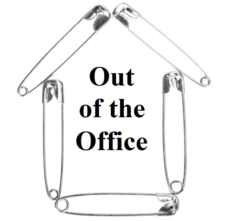 "The image shows a building shape, made out of safety pins. Inside the building are the Times New Roman font words: ""Out of the Office"" to indicate that sewing blogger, doll clothes designer, and You-Tuber Chelly Wood will be on vacation from December 24th until January 2nd."