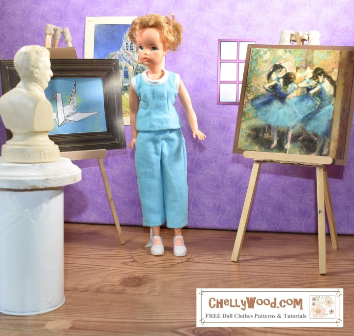 Click on the link in the caption for the free printable sewing patterns and tutorial videos showing how to make these doll clothes. The image show a vintage Tammy doll (by Ideal Toy Corp.) wearing handmade capri pants and a sleeveless shirt. The clothing's fabric is soft flannel, and the shirt is trimmed with cotton bias tape. The doll stands in a 1:6 scale museum with a bust of a composer in front of her and the famous Degas ballerinas behind her. On the wall is a Van Gogh and to the doll's right is a painting of an origami crane. The watermark tells you where you can download the free printable sewing patterns for making Tammy doll clothes in the form of a PDF downloadable pattern: ChellyWood.com