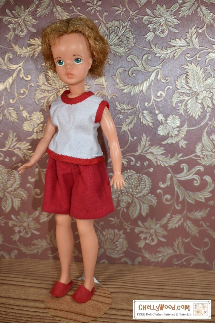 The image shows a 1960's Tammy Doll made by Ideal Toy Corp. wearing handmade elastic-waist shorts and a sleeveless pajama top. The pattern for these pajamas can be found at ChellyWood.com as a free printable PDF sewing pattern with complete tutorial video instructions for sewing the outfit as a whole.